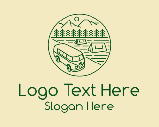 Trailer Van - Hippie Van Camp logo design