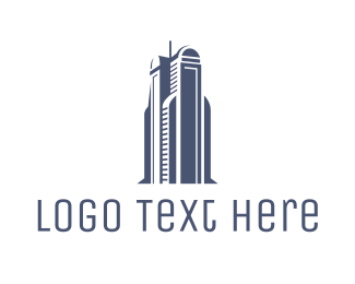 Building - Blue Architectural Building logo design