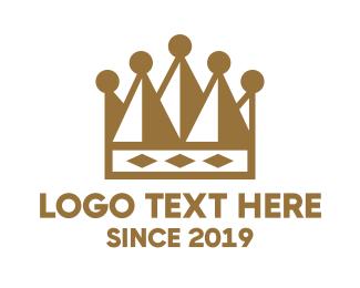 Gold - Gold Geometric Crown logo design