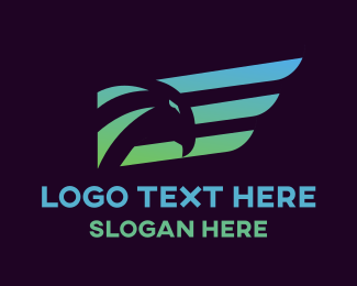 Hawk - Gradient Wing Hawk logo design