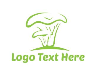 Botanical - Green Mushroom logo design