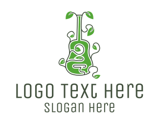 Band - Leaves & Guitar logo design