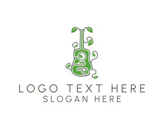 Leaves - Leaves & Guitar logo design