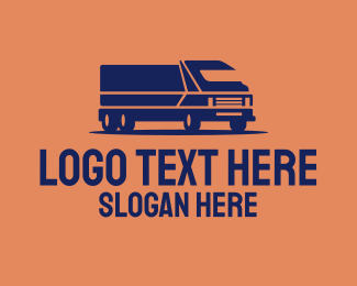 Trucking Service - Orange Cargo Truck logo design