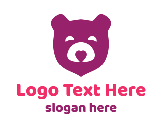 Kinder - Purple Teddy Bear logo design