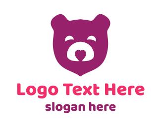 Teddy - Purple Teddy Bear logo design