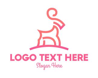 Farmer - Pink Ibex Ram Goat logo design