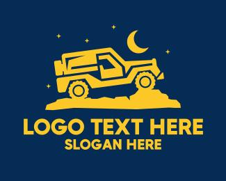 Driving - Night Drive Jeep logo design