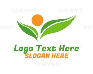 Sprout - Nutrition Sun Leaf logo design