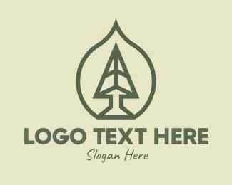 Xmas - Pine Tree Leaf Badge logo design