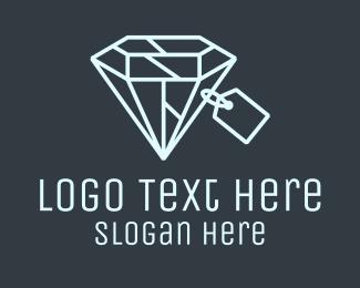 Grey Diamond - Geometric Diamond Price Tag logo design