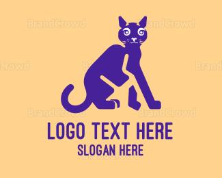 Beige - Black Cat  logo design