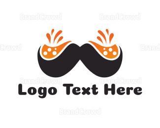 Moustache - Orange Moustache logo design