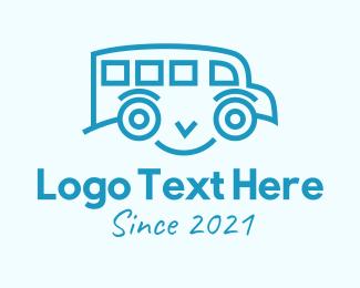 School Bus - Blue Happy Bus logo design