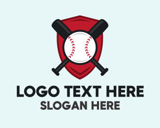 Baseball Bat - Baseball Shield Emblem logo design