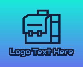 Business Trip - Geometric Briefcase Outline logo design