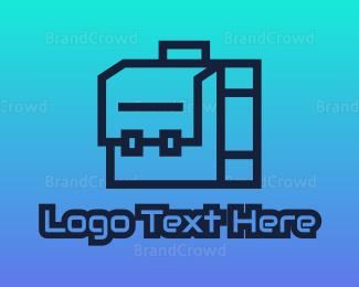 Briefcase - Geometric Briefcase Outline logo design