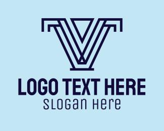 Letter V - Geometric Letter V  logo design