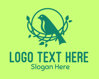 Forest Bird - Tree Bird Nest logo design