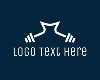 Weight - Dumbbell Letter M logo design