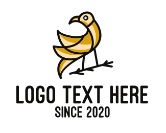 Gold Bird - Gold Bird Outline logo design