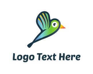 Colibri - Green Hummingbird logo design