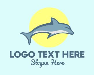 Aquarium - Dolphin Sun logo design