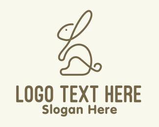 Mascot - Brown Bunny Monoline logo design
