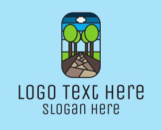 Concrete - Nature Tree Path Mosaic logo design