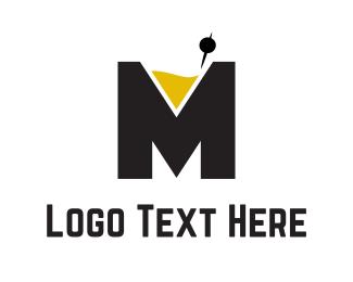 Martini - Cocktail Letter M logo design