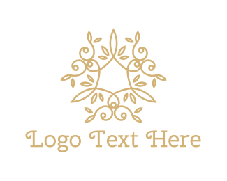 Botanical - Golden Leaves logo design
