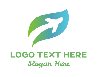 Green Plane - Leaf Plane logo design
