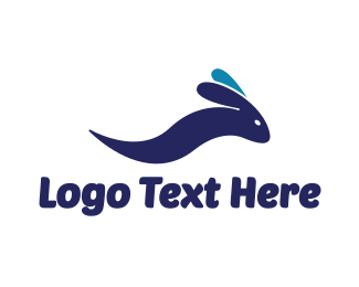 Blue Rabbit - Abstract Wave Rabbit logo design