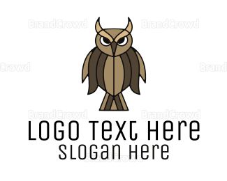 Feather - Brown Feather Owl logo design