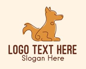Puppy - Sitting Brown Dog logo design