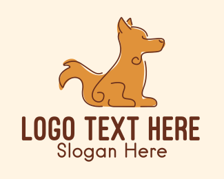Dog Head - Sitting Brown Dog  logo design