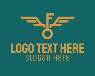 Flight School - Golden Key Wings logo design