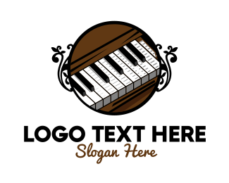 Harmony - Brown Wood Piano logo design