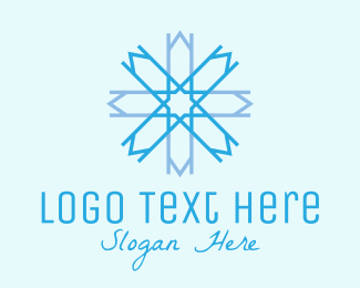 Cool - Blue Geometric Snowflake  logo design
