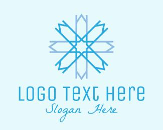 Ski - Blue Geometric Snowflake logo design