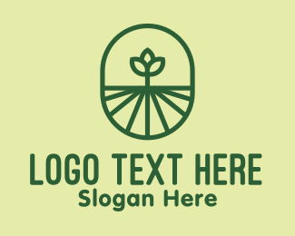 Farm Produce - Green Monoline Plant logo design