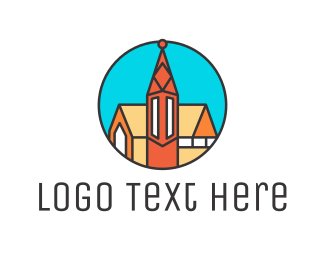 Temple - Polygon Cathedral logo design