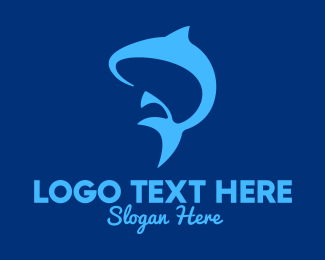 Whale Shark - Blue Marine Fish logo design