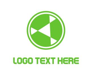 Triangular - Green Circle Rotor logo design
