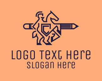 Writing - Gladiator Pencil Outline logo design