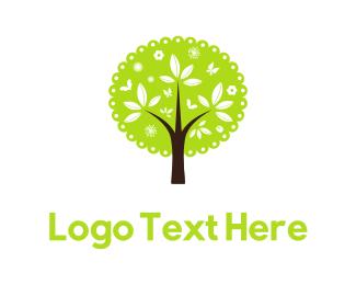 Children - Cute Green Tree logo design