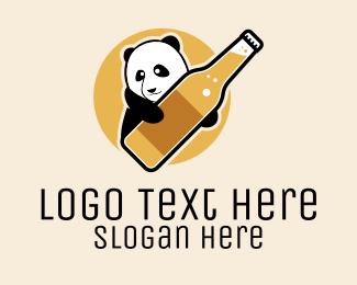Animal - Panda Beer Bottle logo design