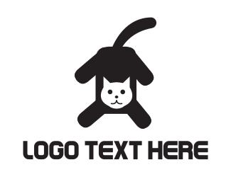 Kitty - Black & White Cat logo design