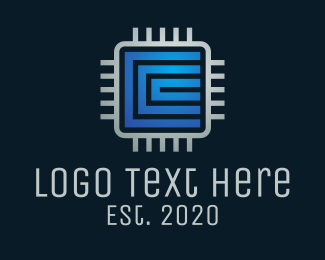 Computer Parts - Tech Software Processor logo design