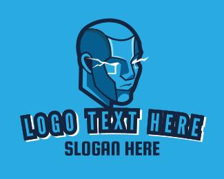 Humanoid - Blue Futuristic Cyborg logo design